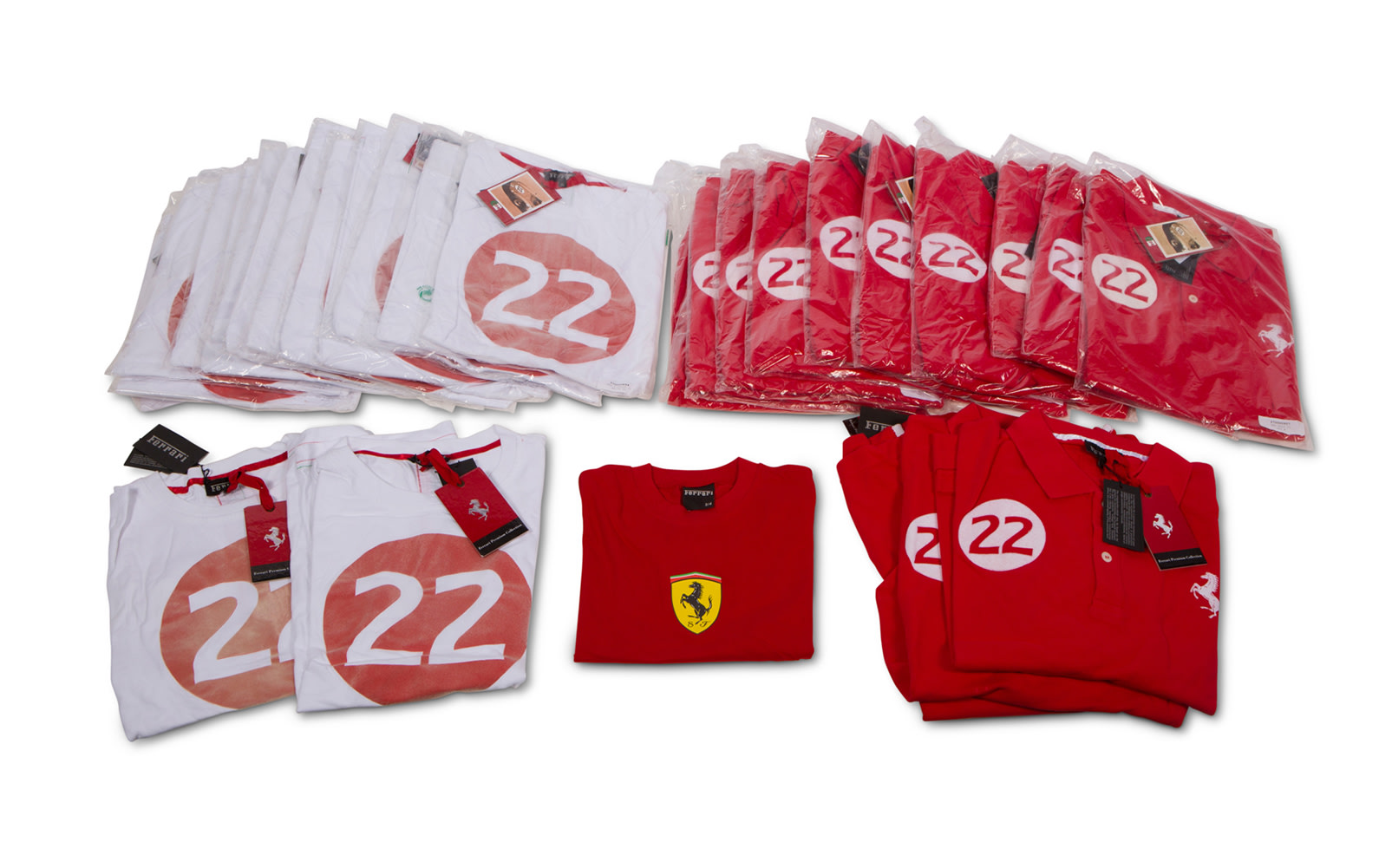 Ferrari Branded T-Shirts and Polo Shirts, Two Styles in Varying Sizes