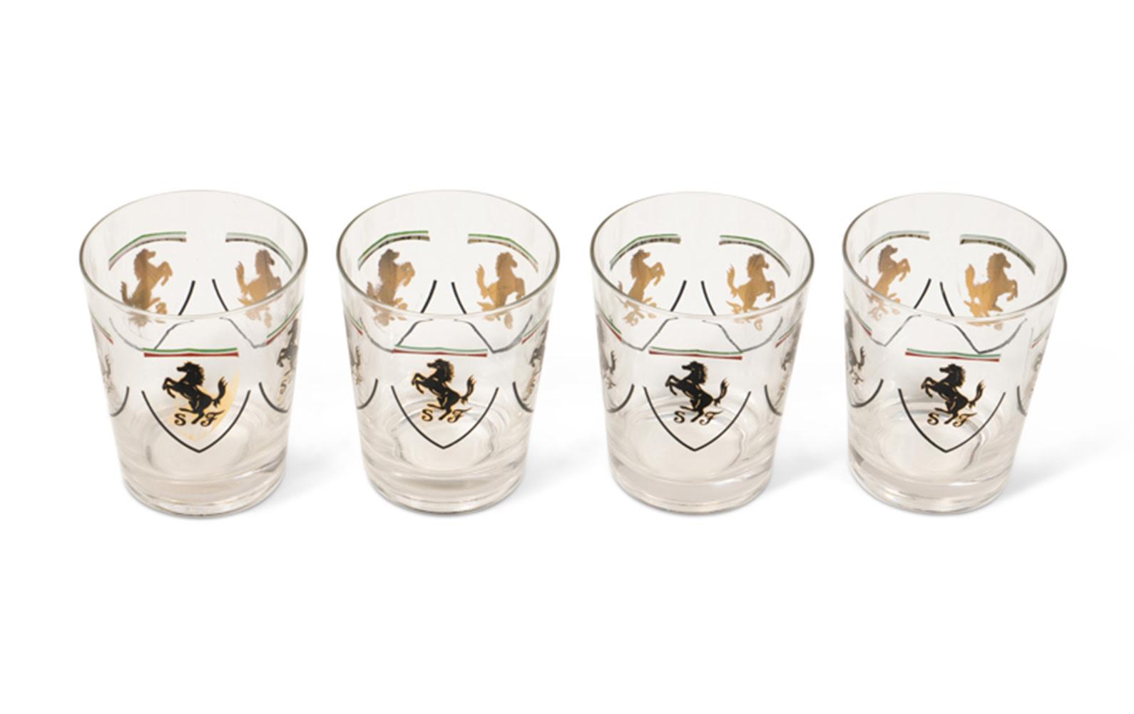 Four Ferrari Glass Drink Tumblers