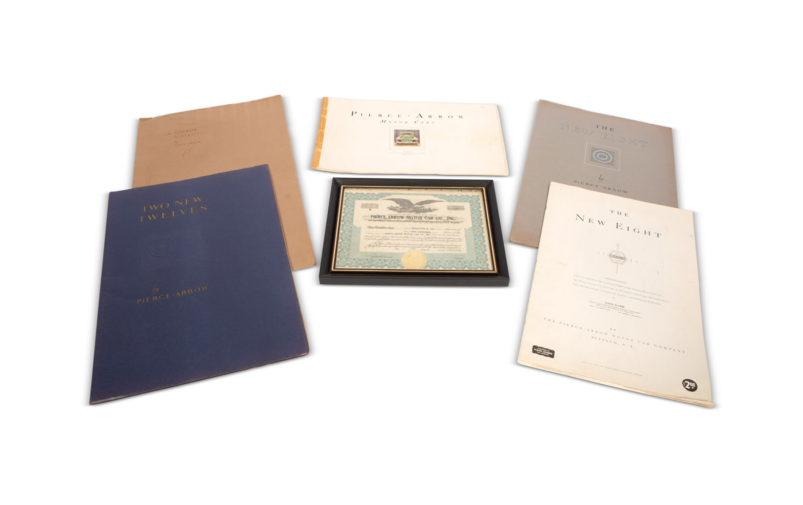 Pierce-Arrow Stock Certificate (1930) and Assorted Sales Literature for Eight- and Twelve-Cylinder Models, c. 1930–1935