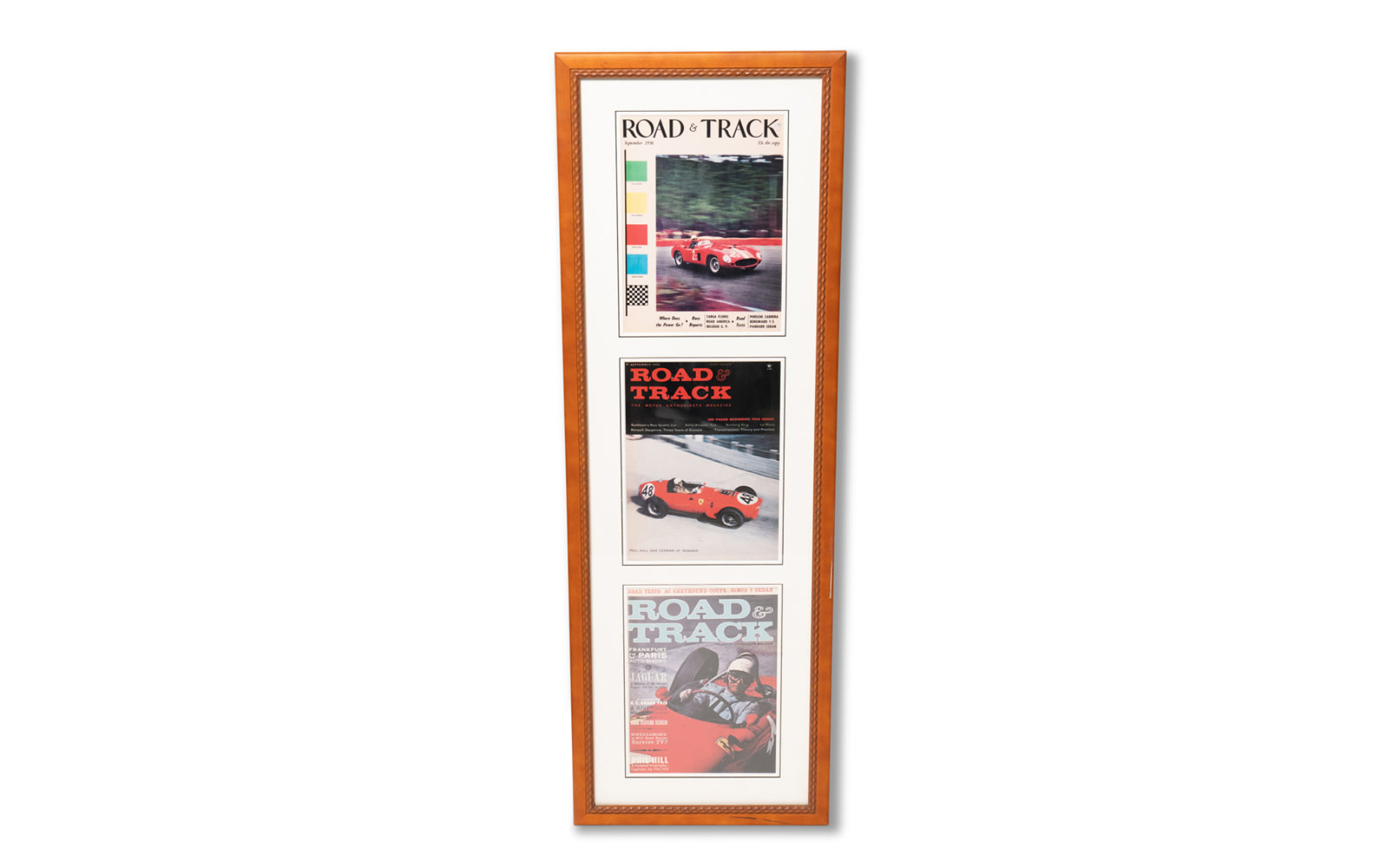 Road & Track Magazine Covers Featuring Phil Hill Driving Ferraris, Framed