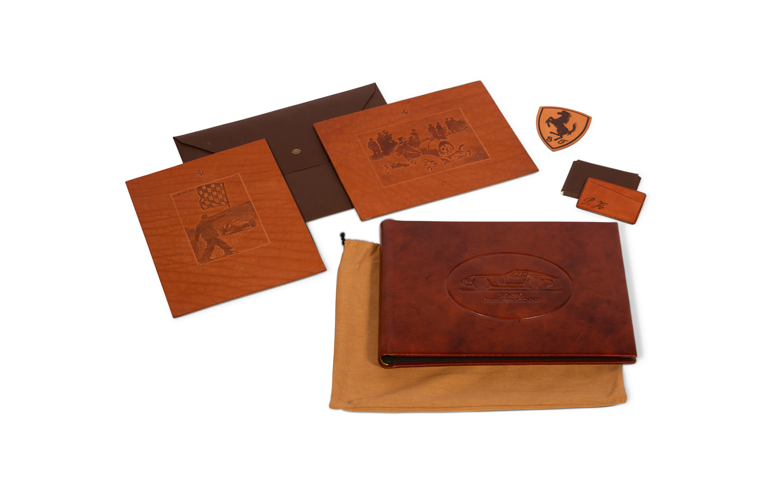 Schedoni Embossed Leather Artwork, Business Card Holder, and Photo Album, Personalized to Phil Hill