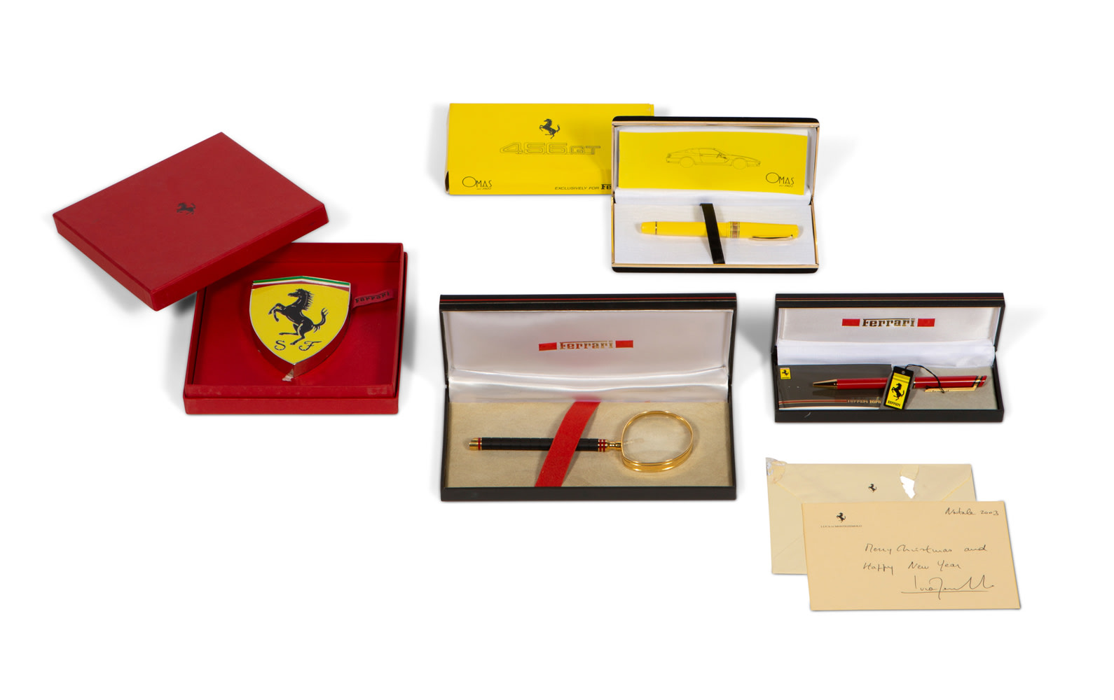 Assorted Ferrari Gifts Including Cavallino Paperweight and Three Pens in Boxes