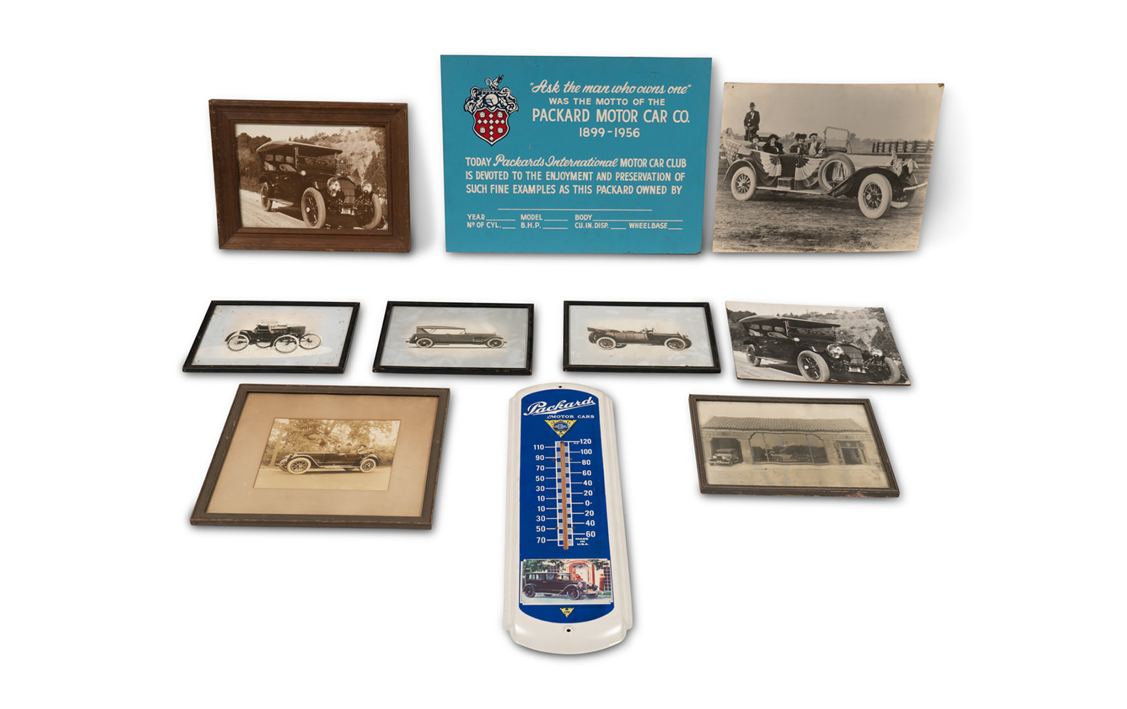 Assorted Photographs and Decor Featuring Packards and Other American Marques