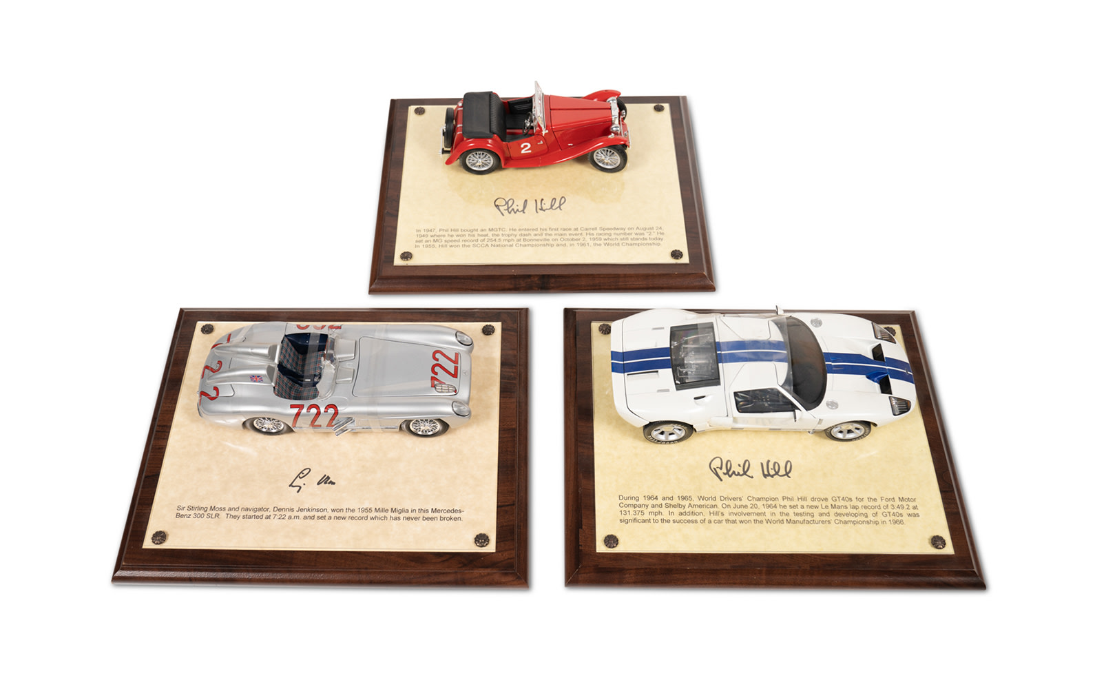 1:18 Scale Models Mounted on Plaques