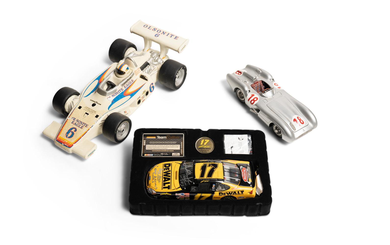 Team Caliber Signed NASCAR Model, Ceramic Olsonite Eagle Race Car, and Mercedes-Benz W196 Scale Model