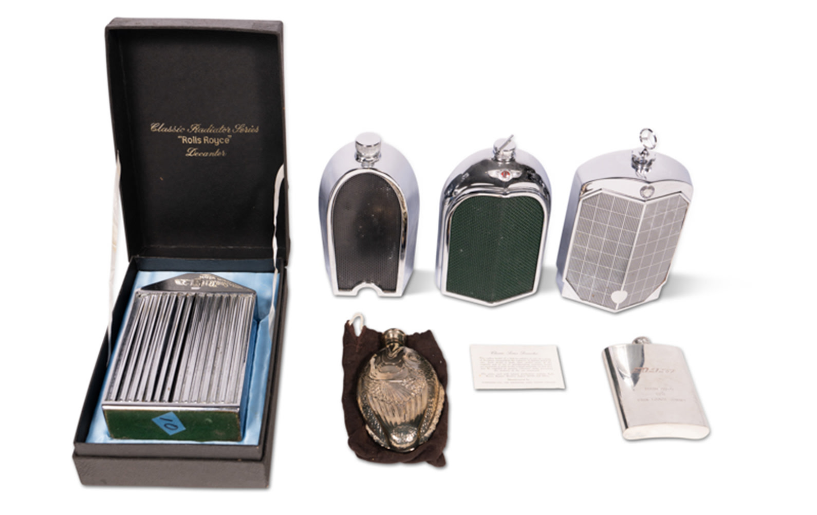 A Selection of Flasks and Automotive Decanters by Ruddspeed