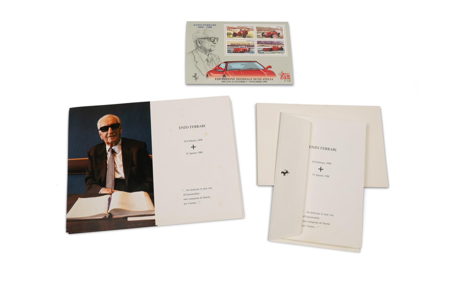 Enzo Ferrari Death Announcements with Envelopes