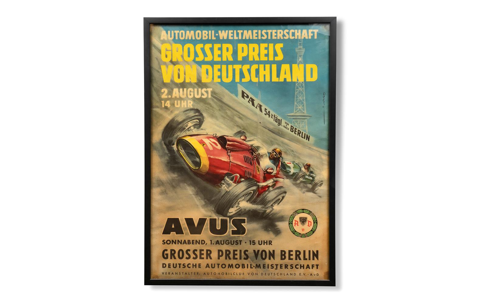 1959 Grosser Preis von Berlin AVUS Poster, Framed