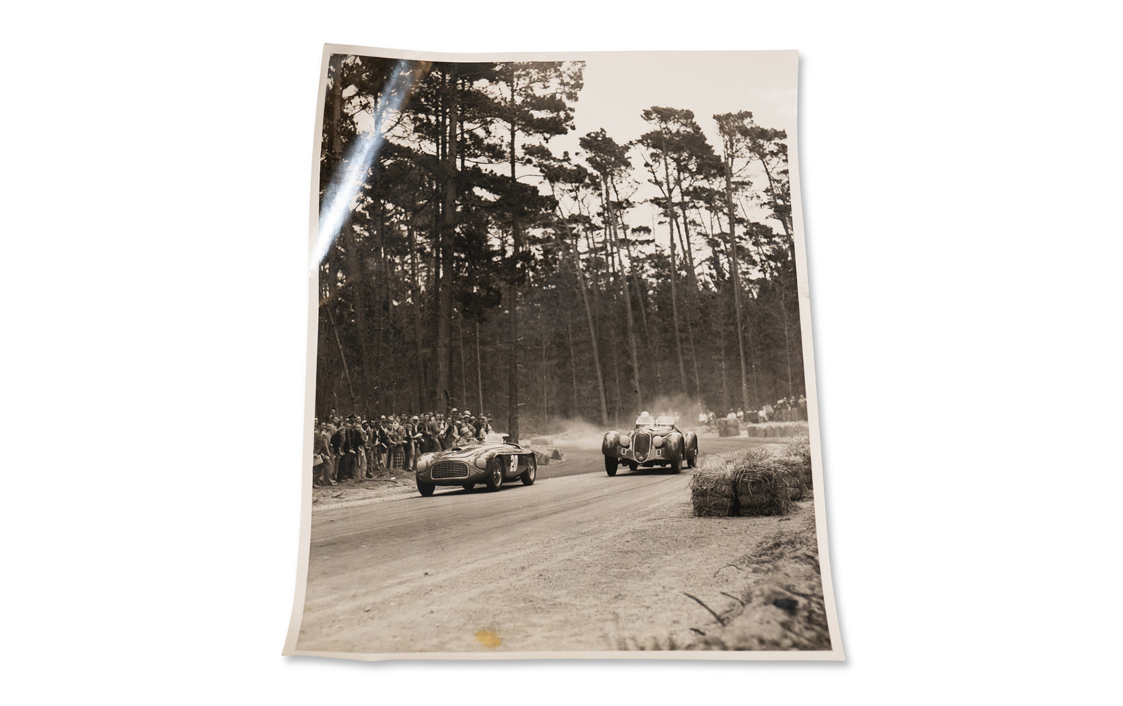 Julian P. Graham Photograph of Phil Hill Driving his Alfa Romeo 8C 2900B Mille Miglia Spider at the 1951 Pebble Beach Road Races, Unframed