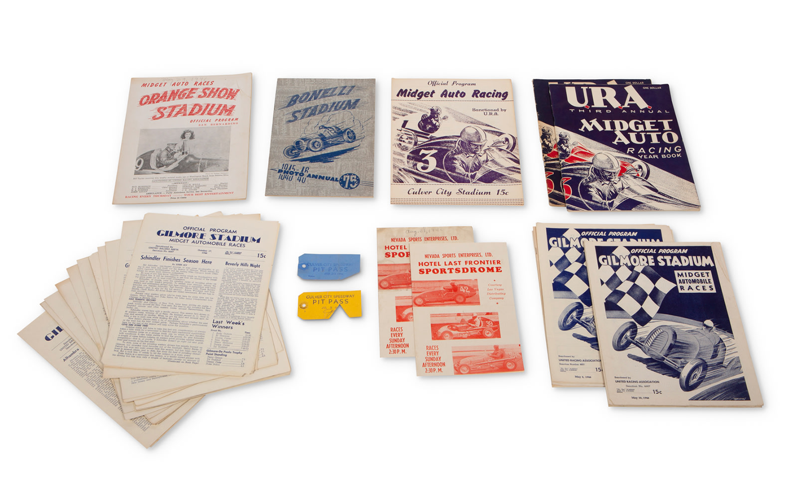 1946 Midget Racing Programs, Yearbooks, and Pit Passes