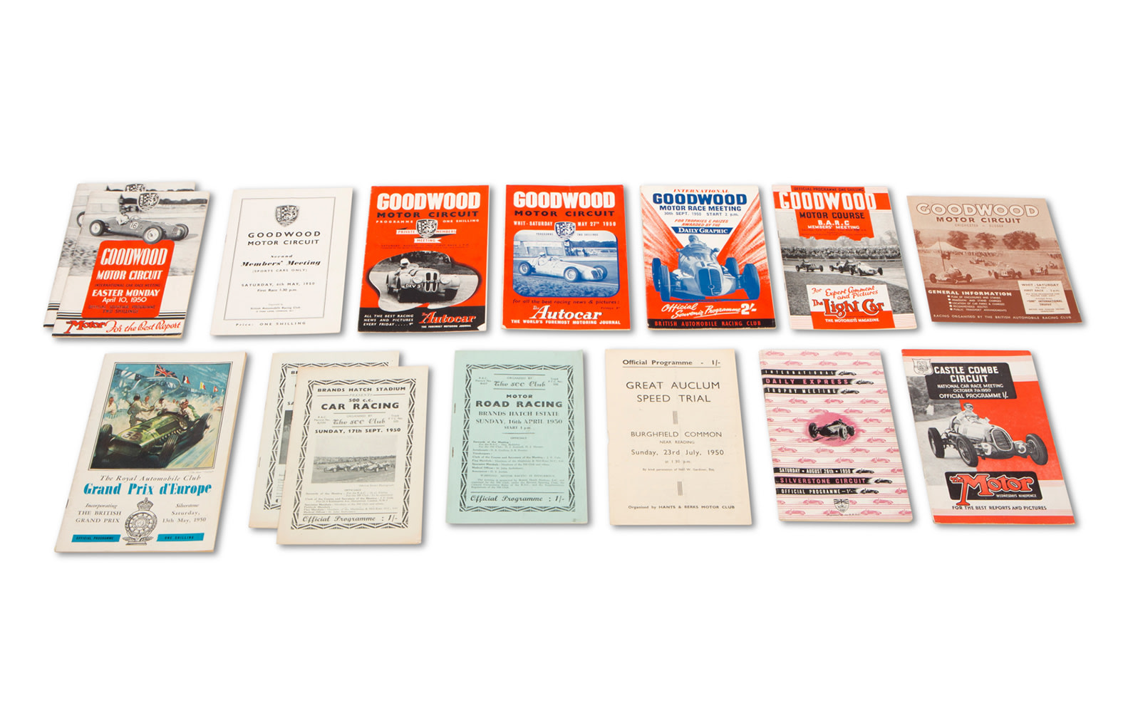 Assorted 1950 British Race Programs