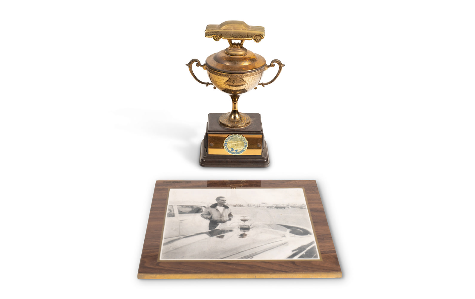 1951 Orange County Drag Races Trophy and Photograph of Phil Hill at Event