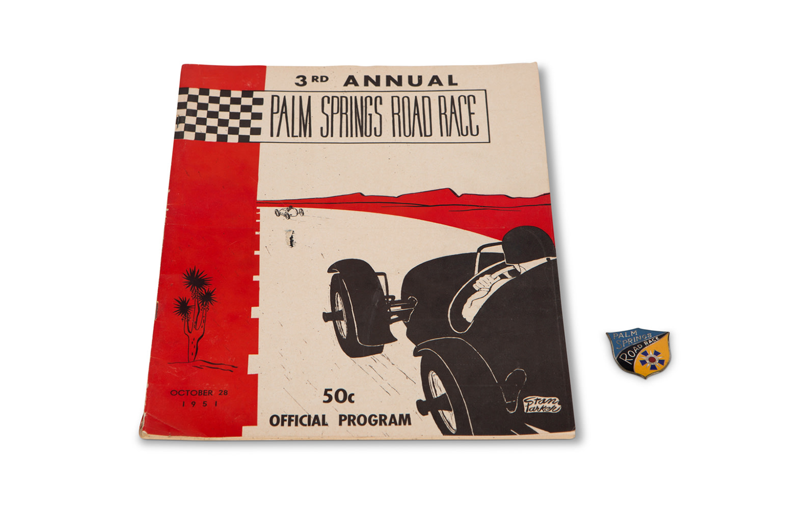 1951 Palm Springs Road Race Official Program and California Sports Car Club Badge