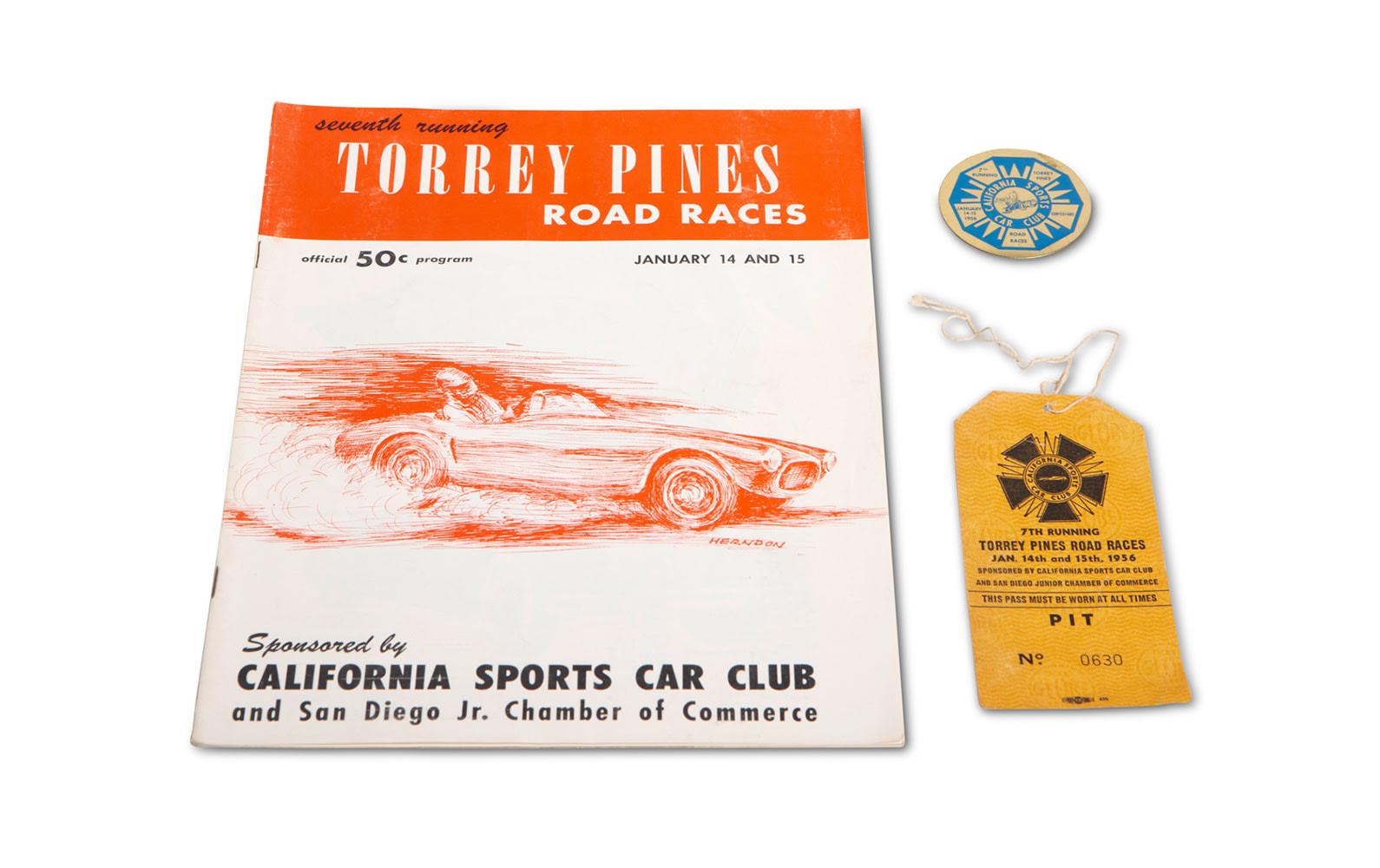 1956 CSCC Torrey Pines Road Races Program, Pit Pass, and Medallion