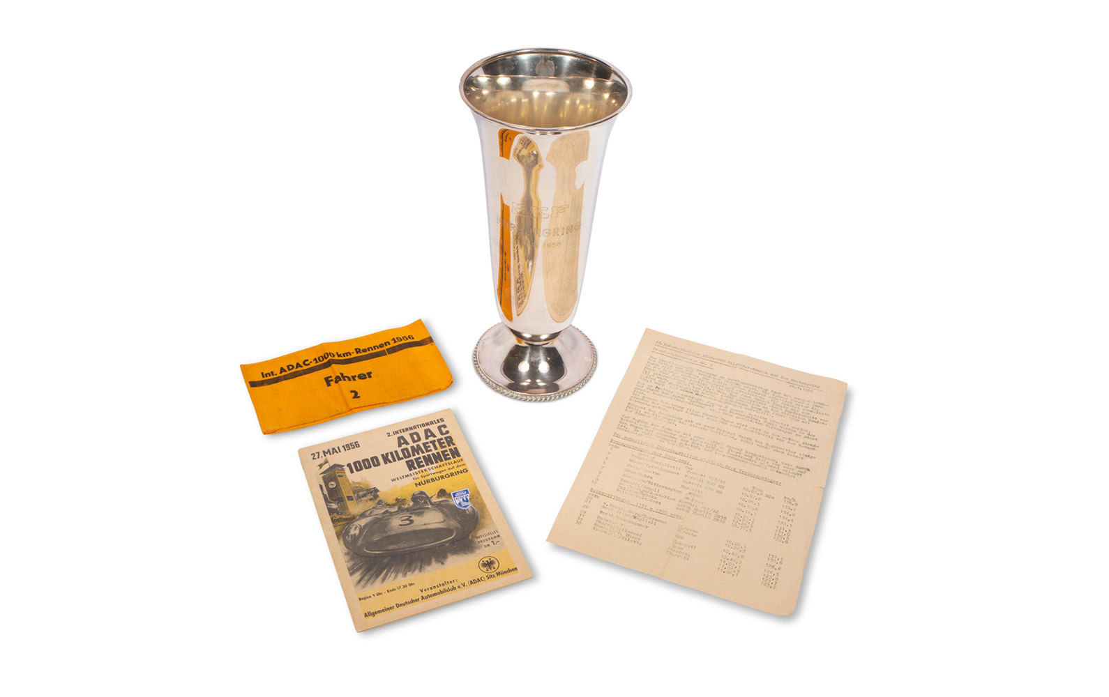 1956 ADAC 1000 Km Nürburgring Trophy, Official Race Program, Driver Armband, and Press Sheet
