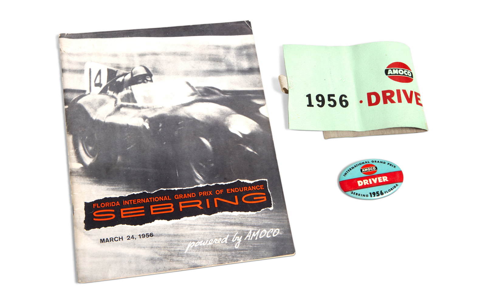 1956 12 Hours of Sebring Driver Armband, Driver Pin, and Official Race Program