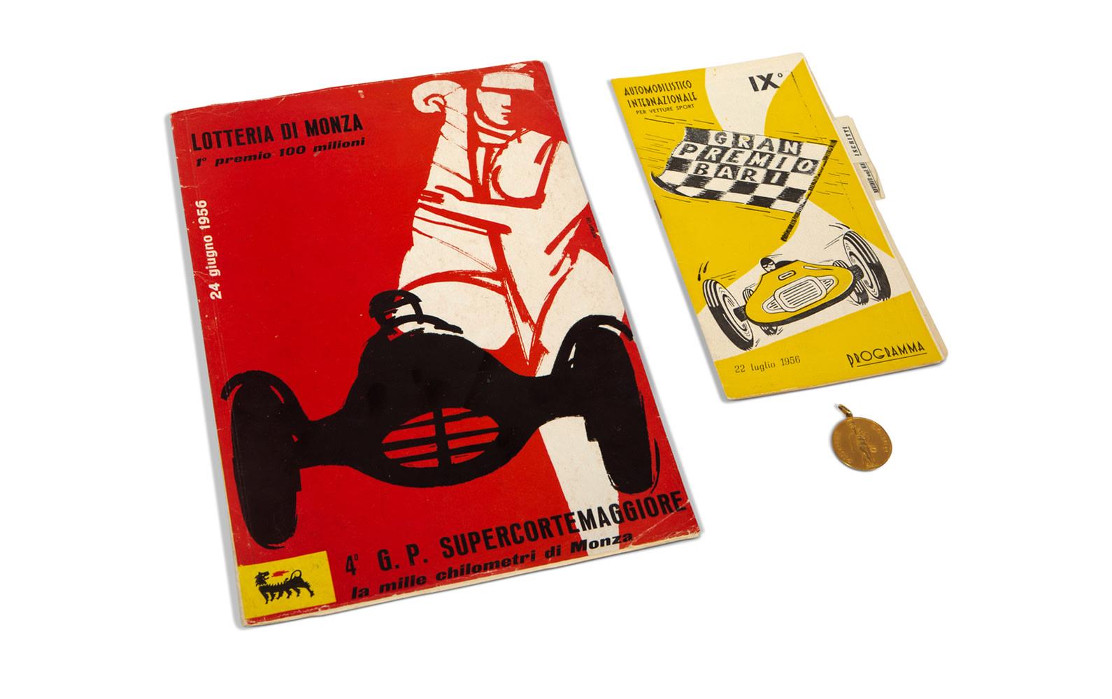 1956 GP Supercortemaggiore at Monza and Gran Premio di Bari Official Race Programs with Pistone Borgo Keychain