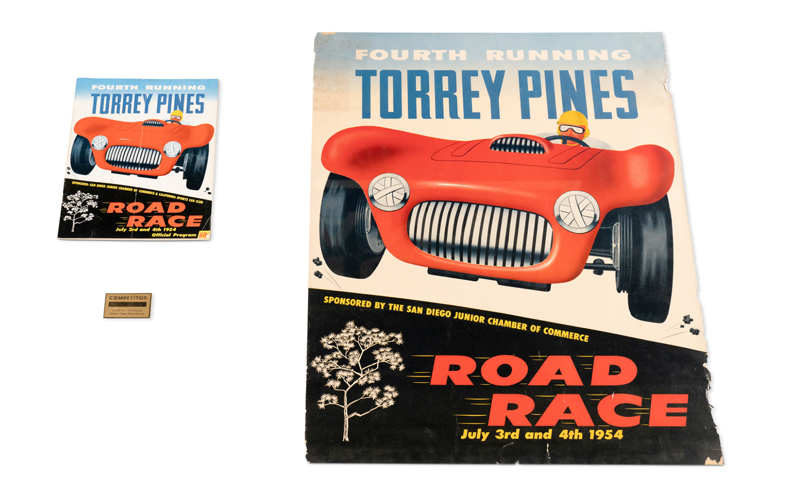 1954 Torrey Pines Road Race Official Poster, Program, and Competitor Badge