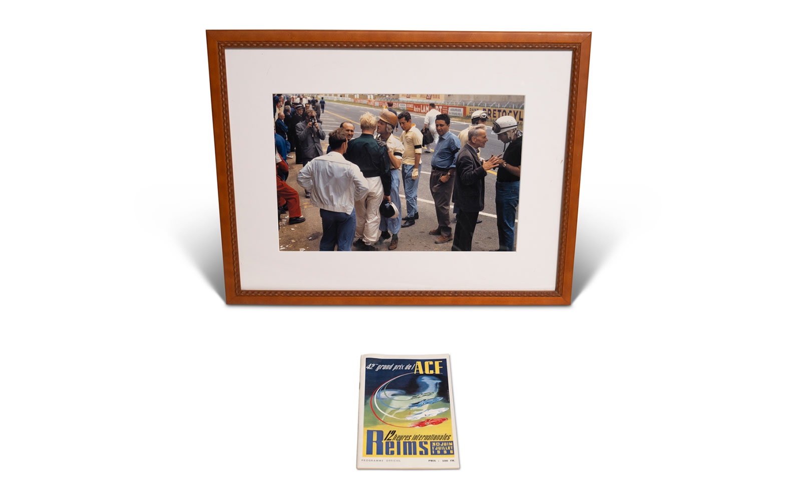 1956 French Grand Prix at Reims Framed Photograph by Phil Hill and Official Race Program