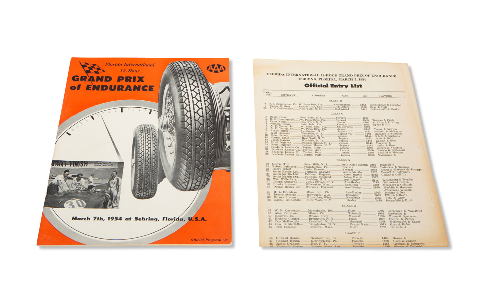1954 12 Hours of Sebring Official Race Program and Entry List
