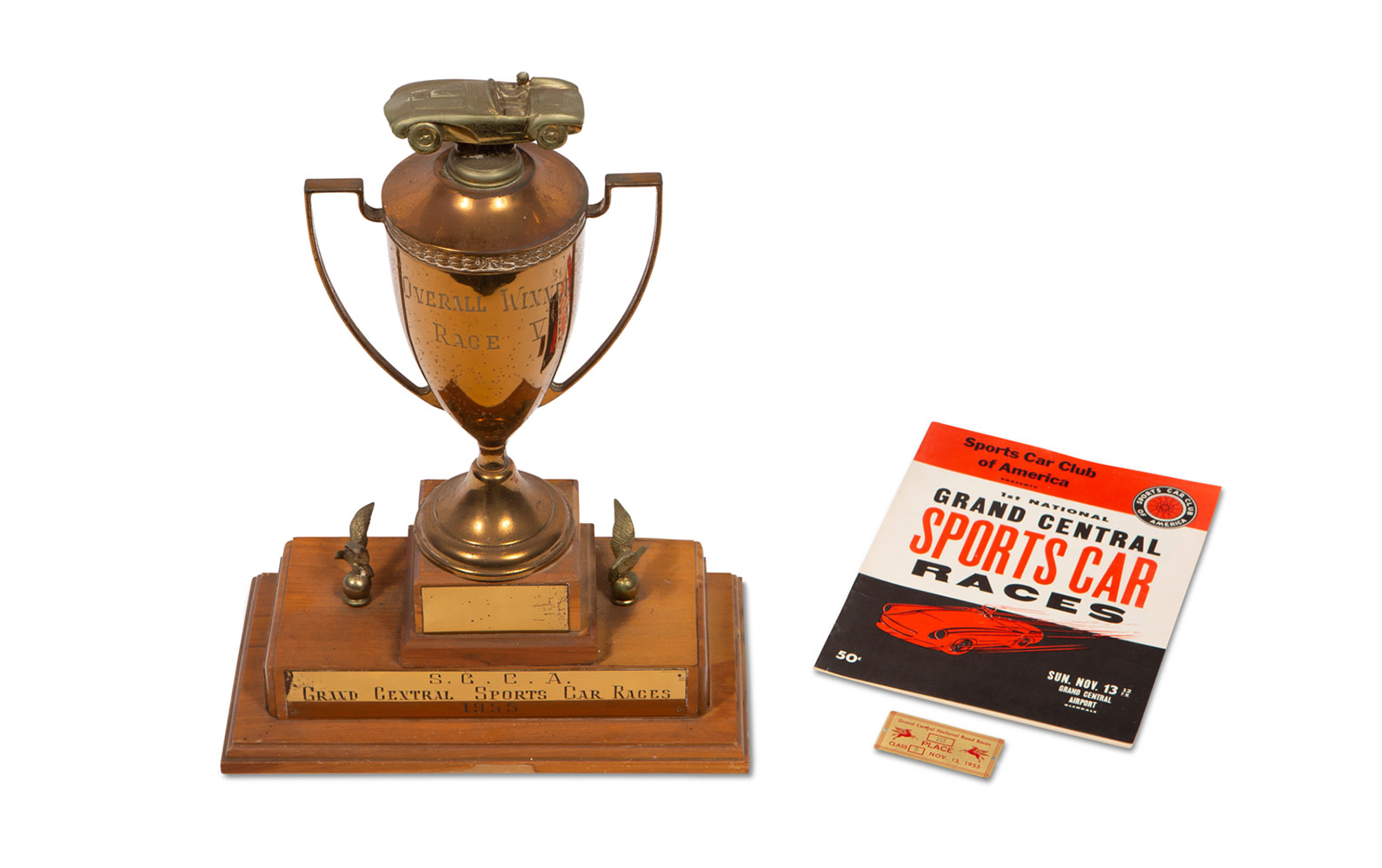 1955 Grand Central Sports Car Races Trophy, 1st Place Finishers Badge, and Official Program