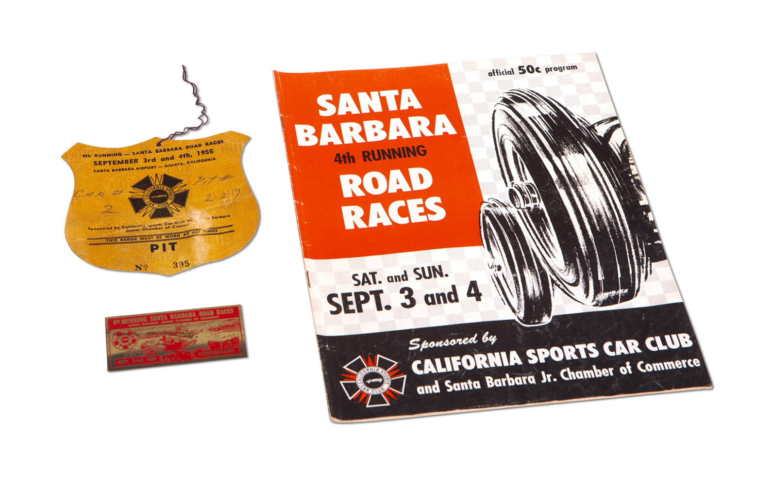 1955 Santa Barbara Road Races Official Program, Contestant Badge, and Pit Pass
