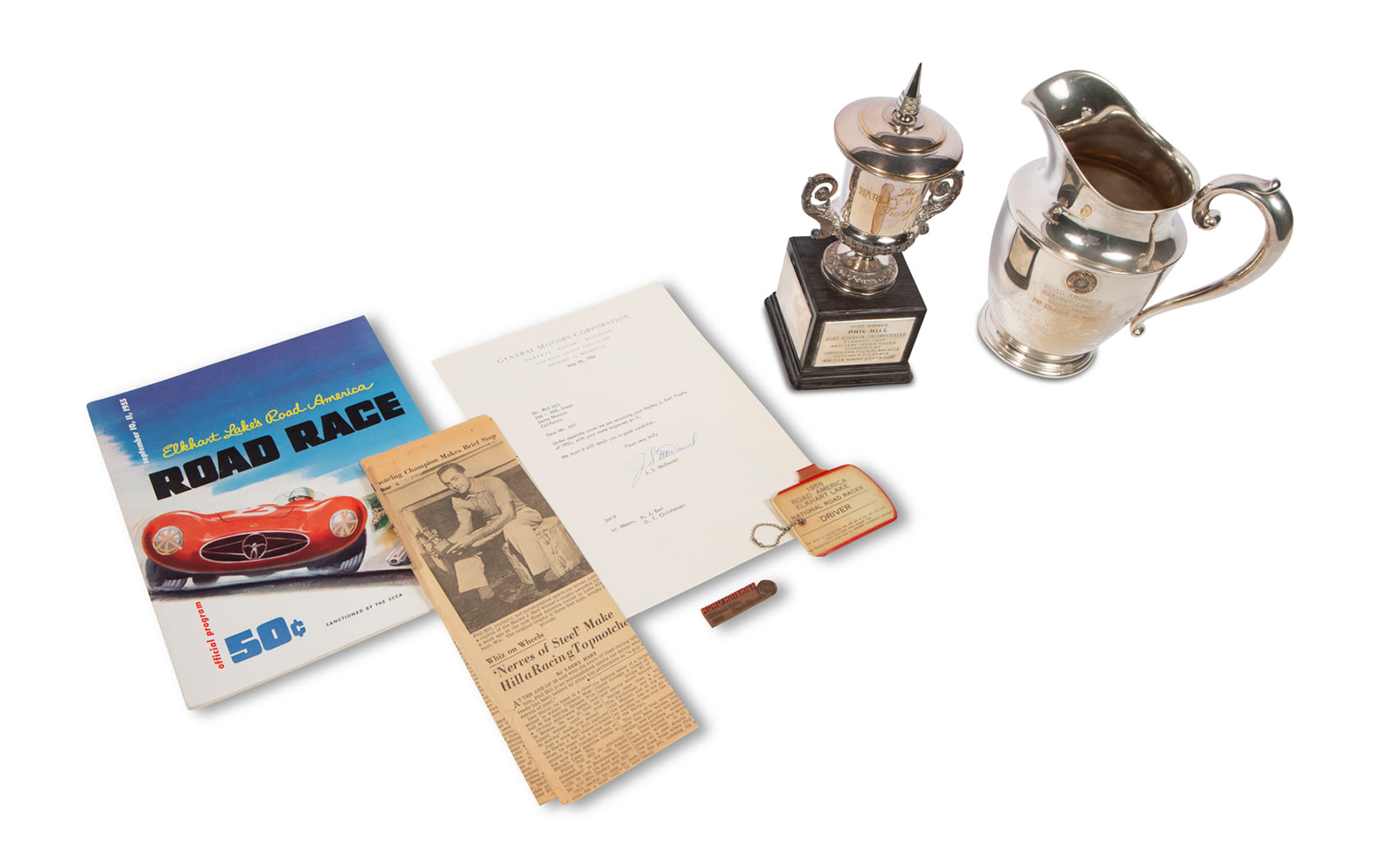 1955 Elkhart Lake's Road America Road Race Trophies, Driver Badge, Entrant Plaque, and Official Program