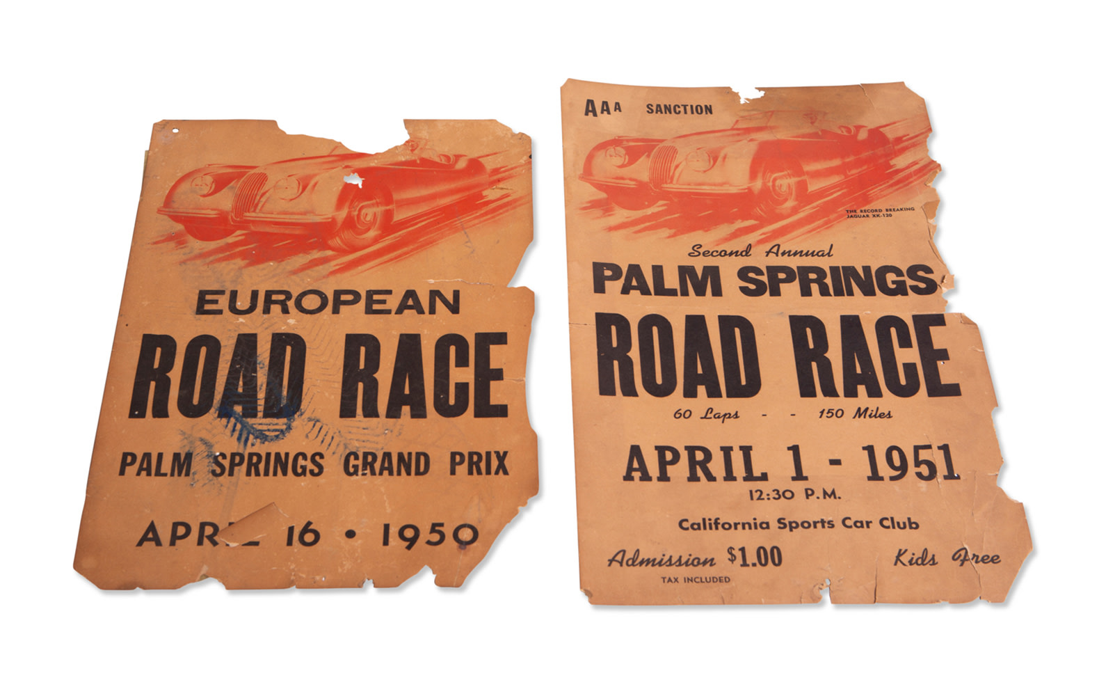 1950 and 1951 Palm Springs Road Race Posters, Unframed