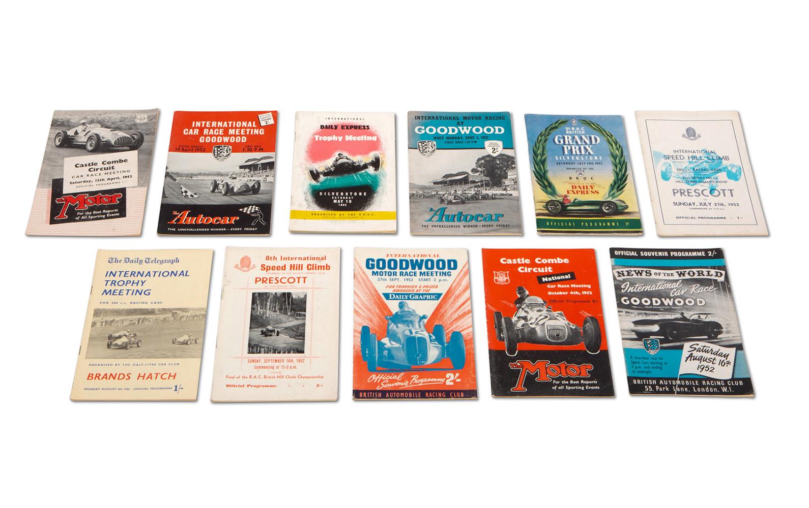 Assorted 1952 British Race Programs