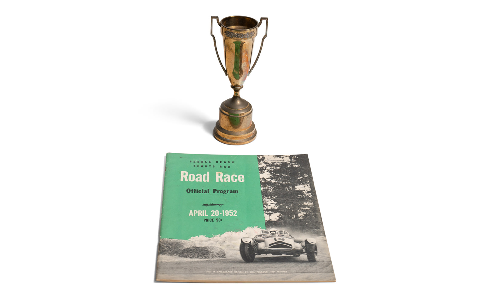 1952 Pebble Beach Road Race Trophy and Official Race Program