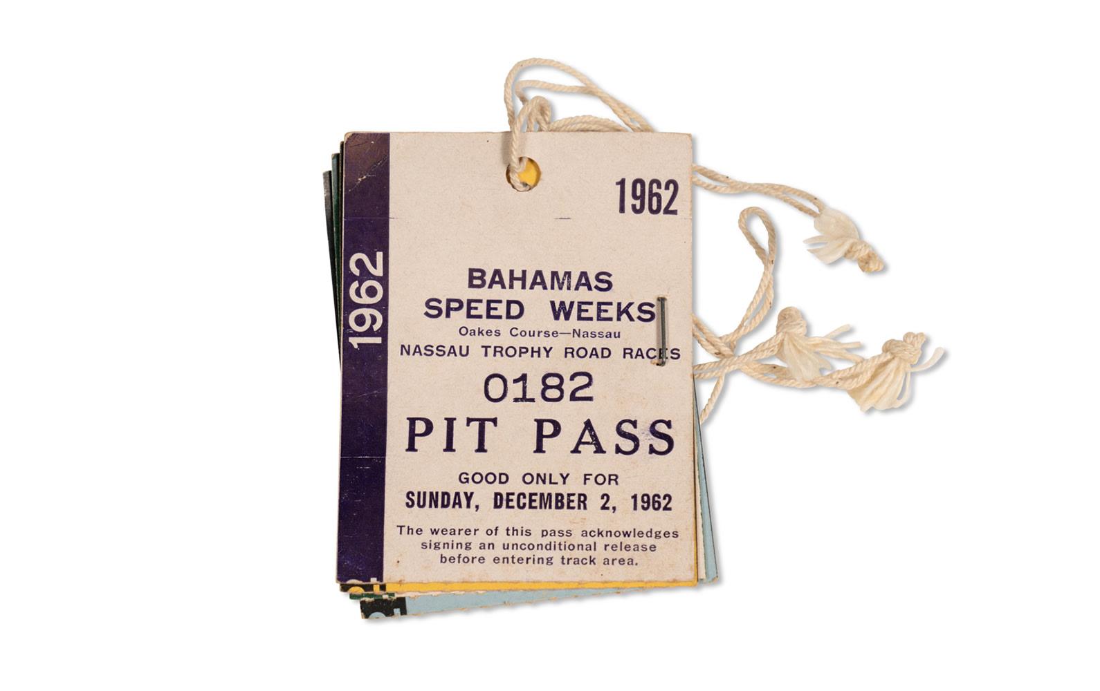 1962 Bahamas Speed Weeks Pit Passes