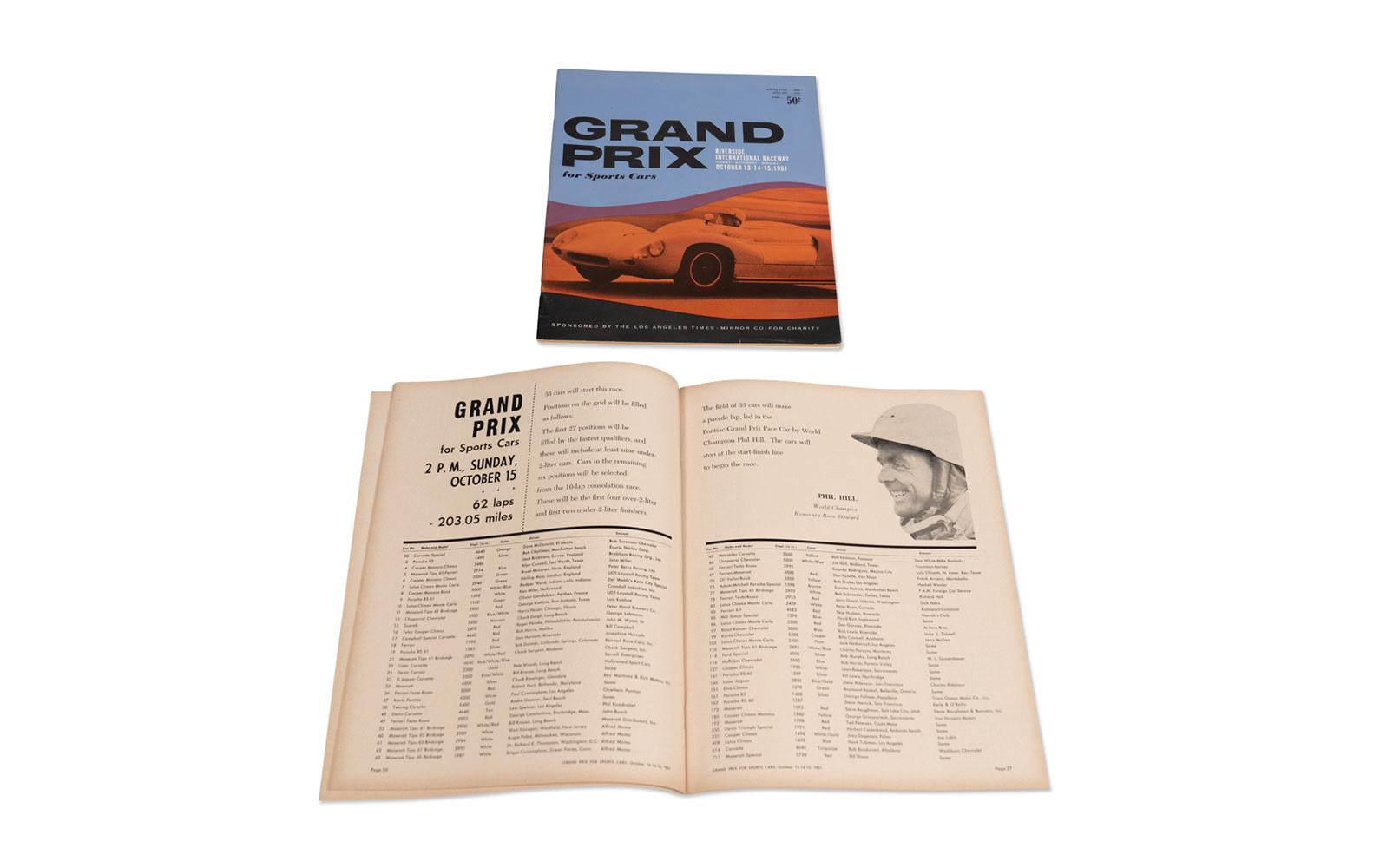 1961 Grand Prix for Sports Cars at Riverside International Raceway Race Programs