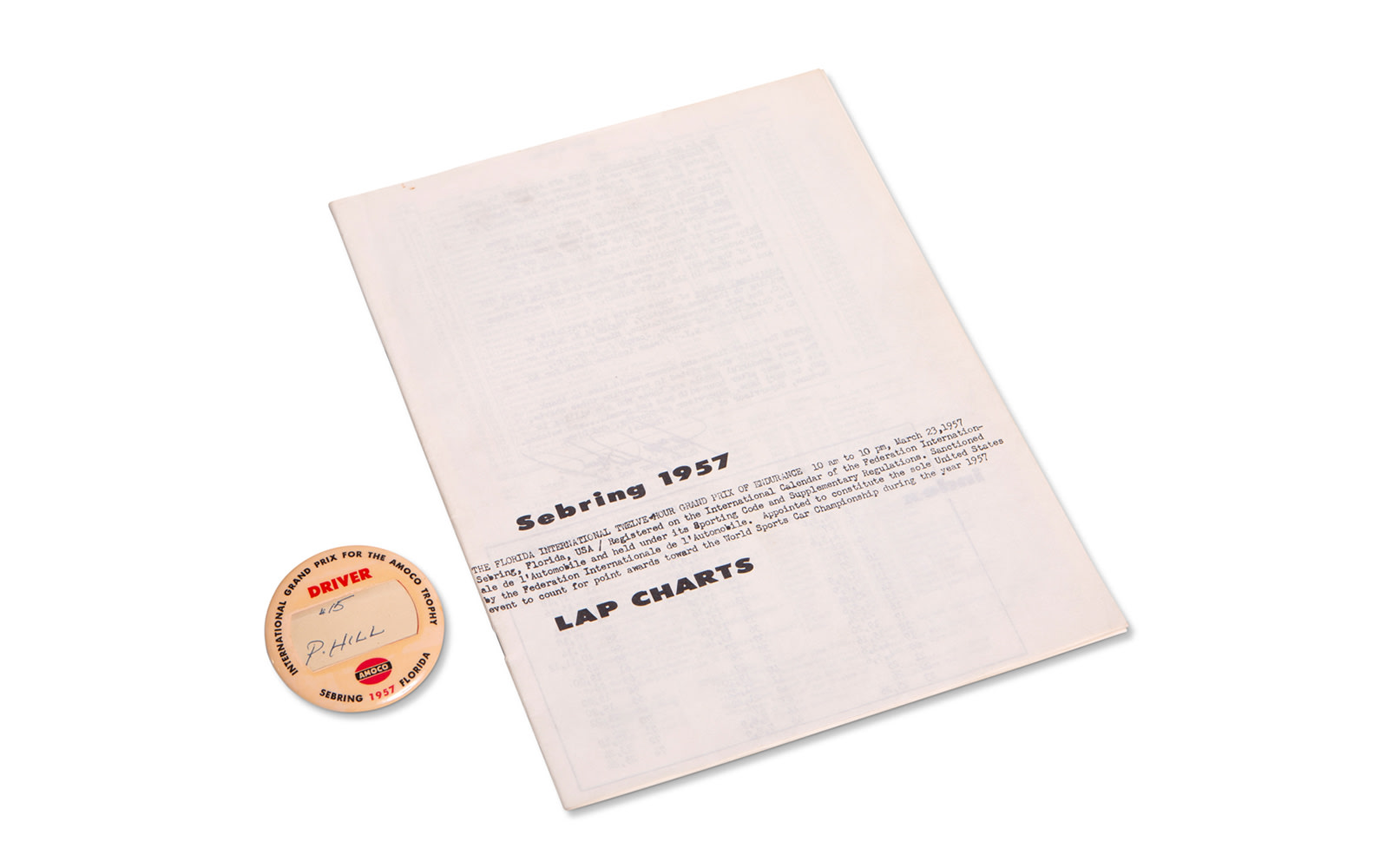 1957 12 Hours of Sebring Driver Pin and Official Lap Charts