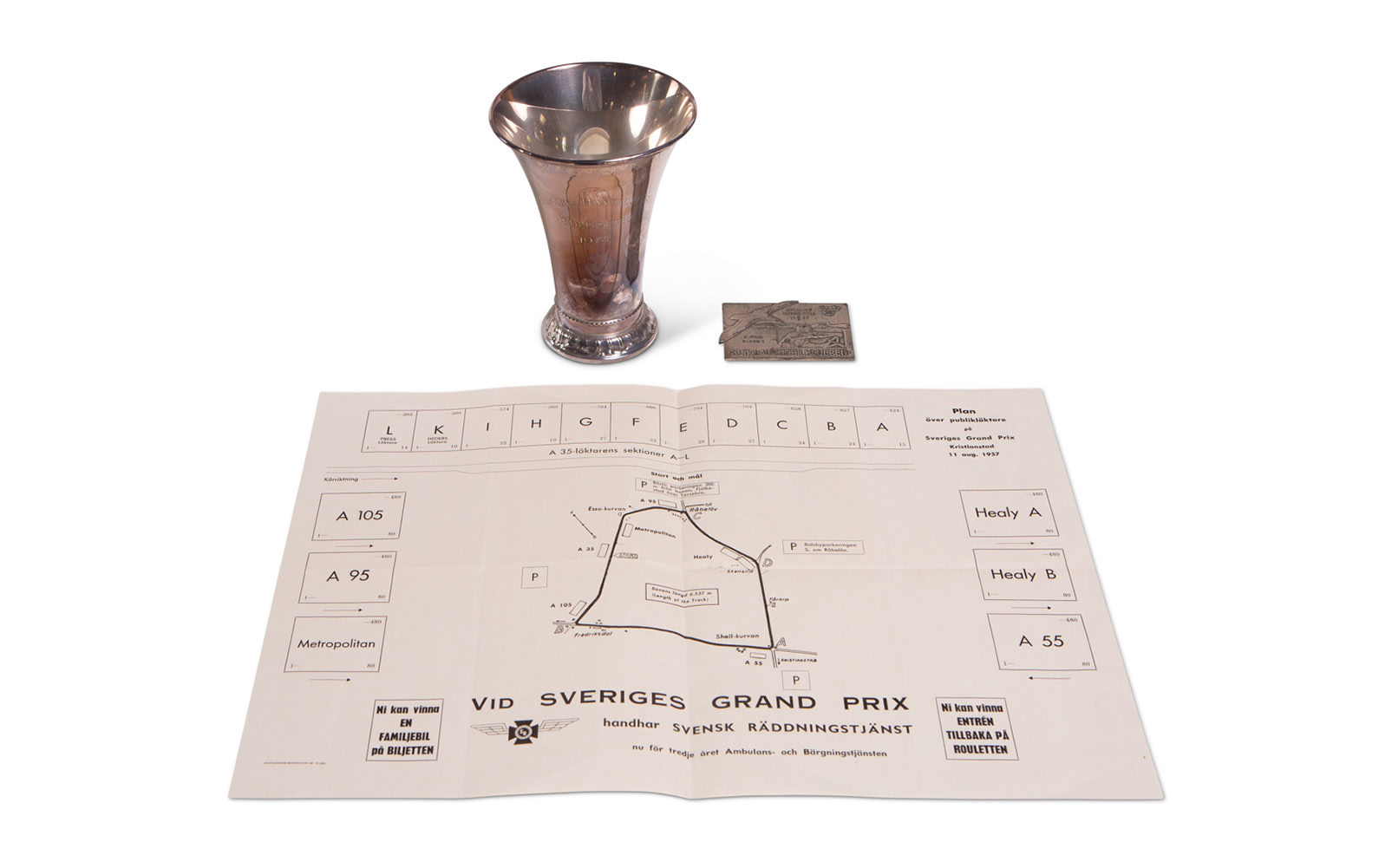 1957 Swedish Grand Prix Trophy, Plaque, and Course Map