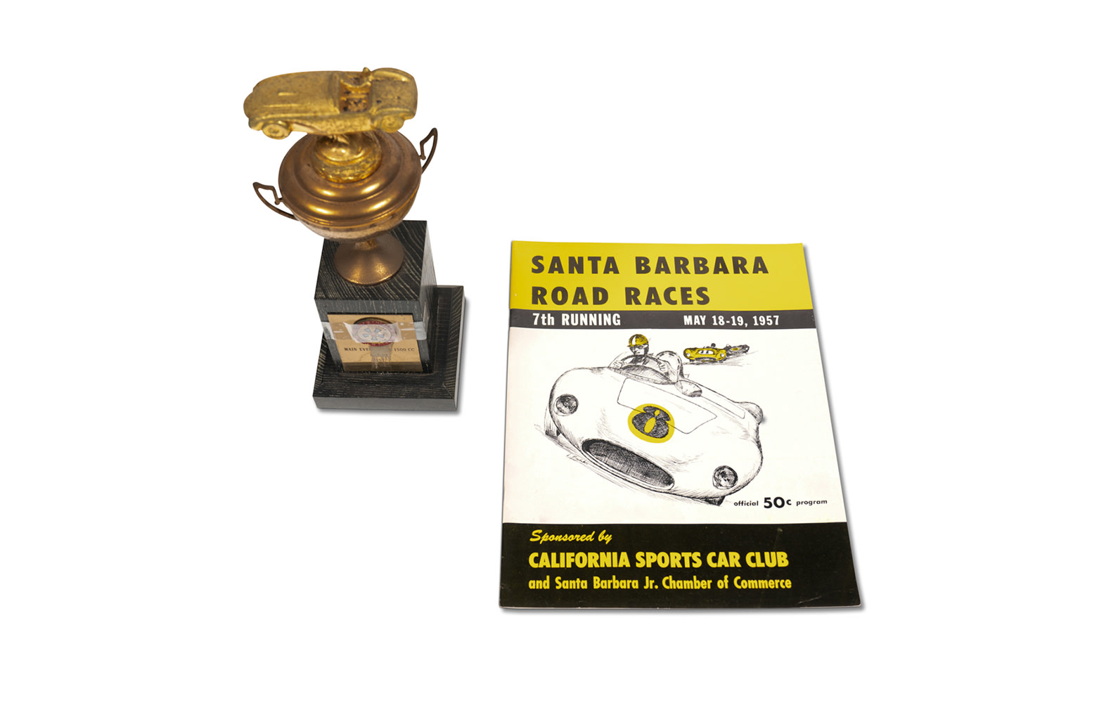 1957 CSCC Santa Barbara Road Races Trophy and Official Race Program