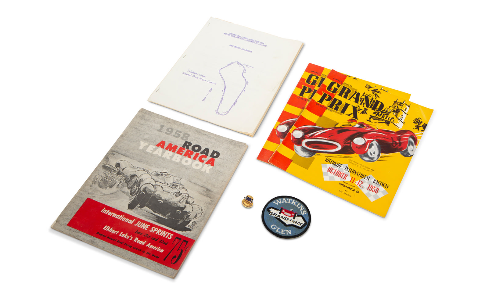 1958 USAC Race Car Driver Pin and Assorted Race Programs for US Venues