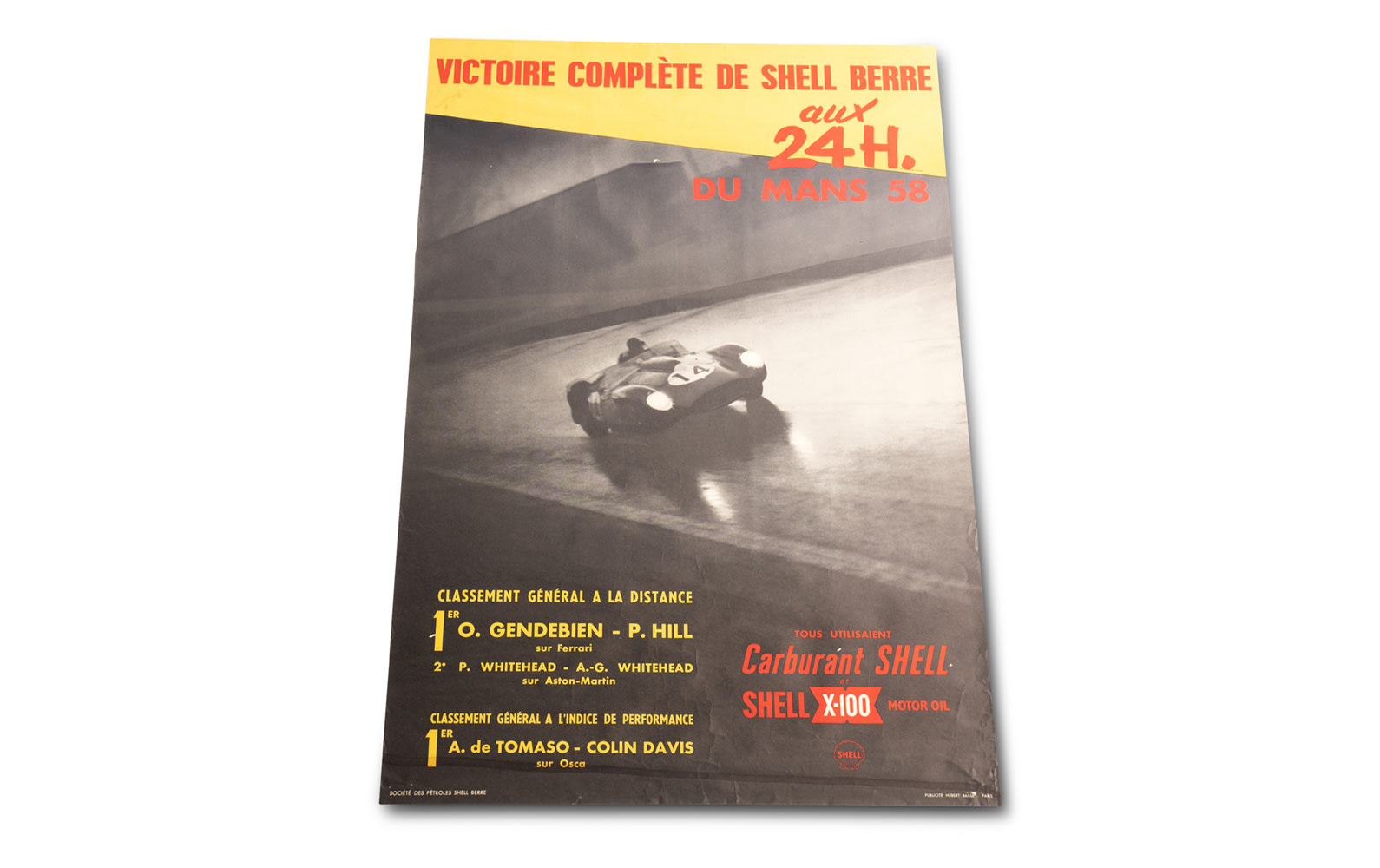 Shell Poster Commemorating Phil Hill and Olivier Gendebien's Win at the 1958 24 Hours of Le Mans