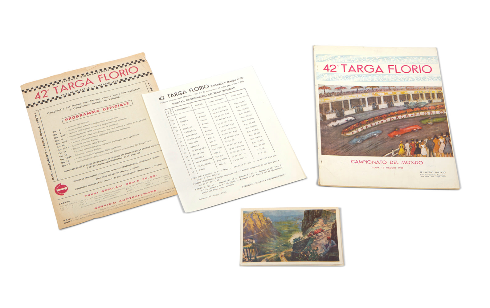 1958 Targa Florio New Year's Card, Official Race Program, and Entry List