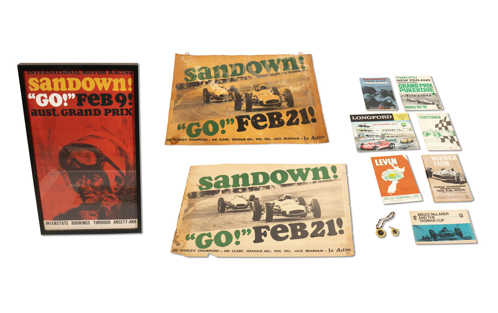 1965 Tasman Cup Race Programs, Literature, and Sandown Posters, Framed and Unframed
