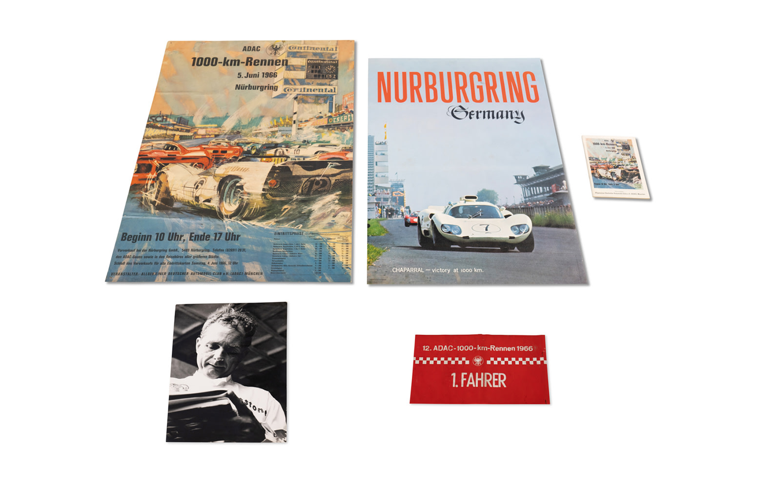 Significant Items from Phil Hill's Victory in a Chaparral at the 1966 ADAC 1000 Km Nürburgring