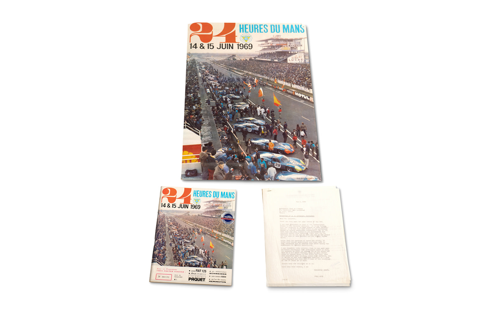 1969 24 Hours of Le Mans Official Race Program, Two Posters (Unframed), and Correspondence