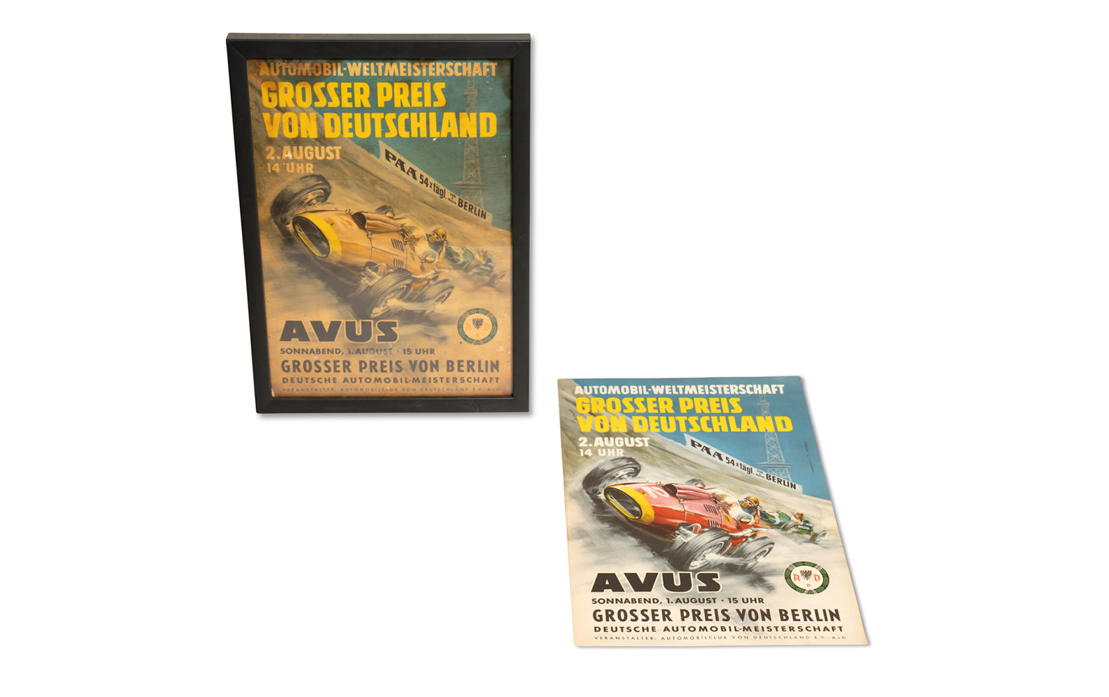 Two 1959 German Grand Prix Event Posters, One Framed and One Unframed