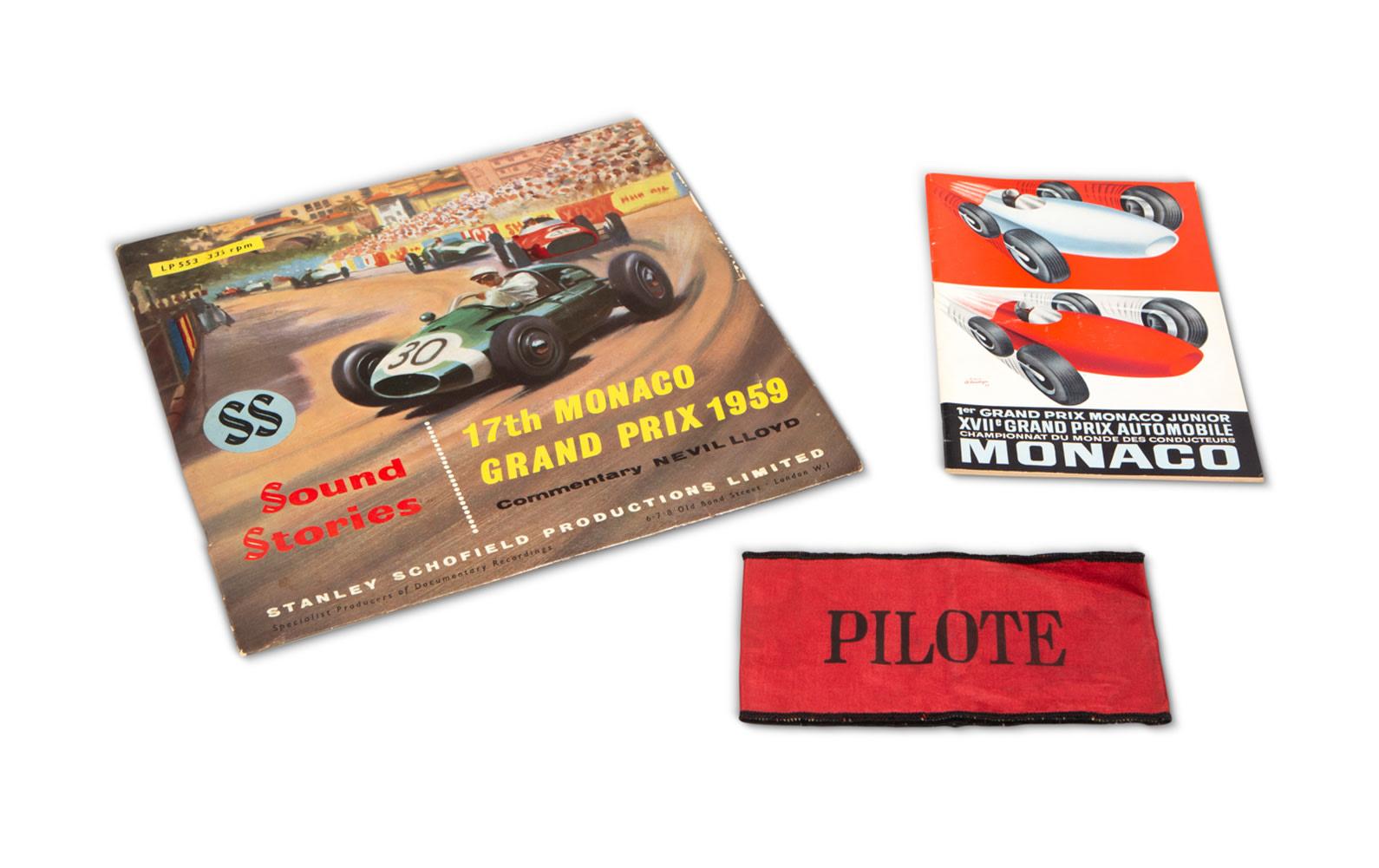 1959 Monaco Grand Prix Official Race Program, Vinyl Record, and Driver Armband