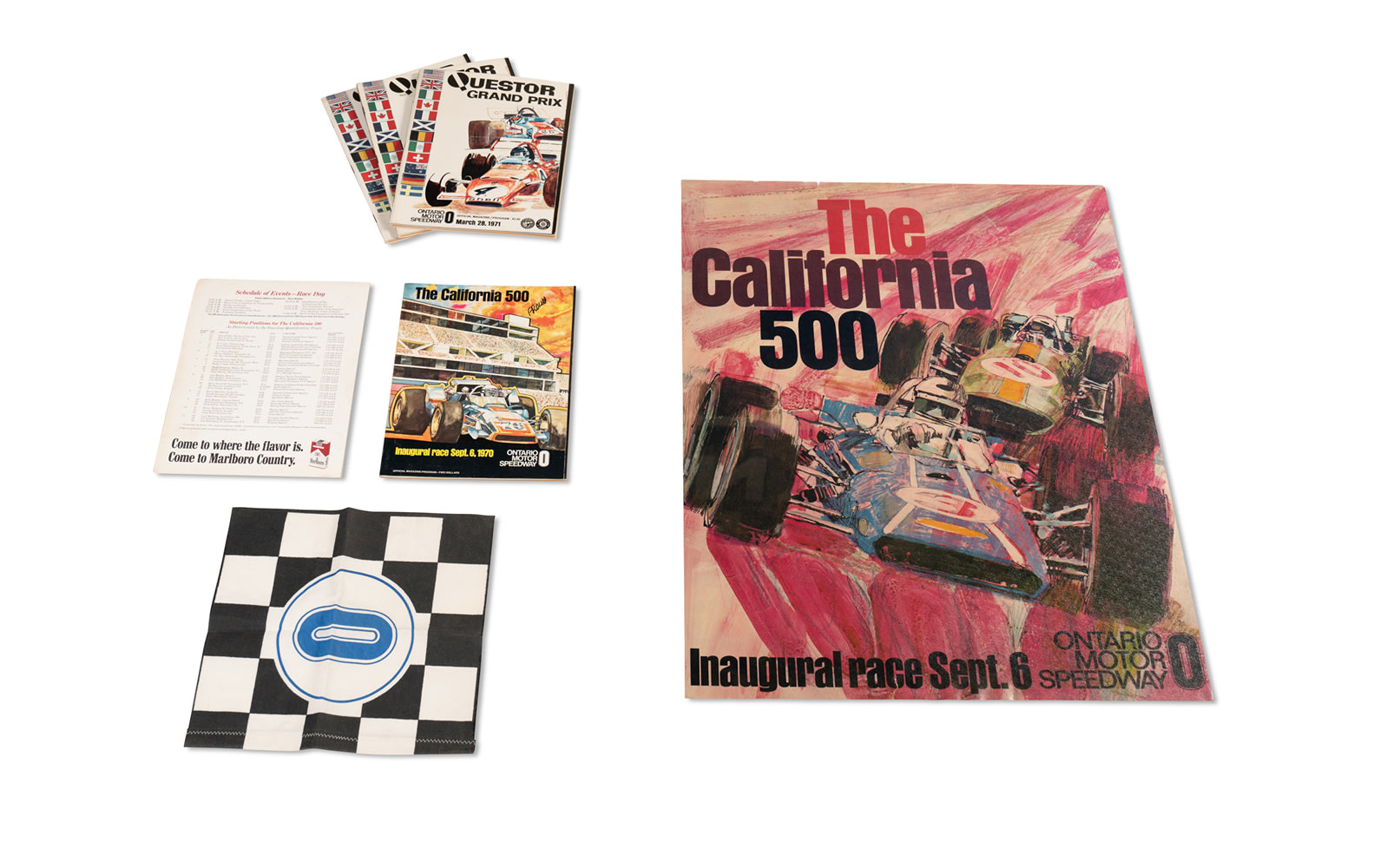 Assorted Programs, Poster, and Flag for Races at the Ontario Motor Speedway, c. 1970–1971