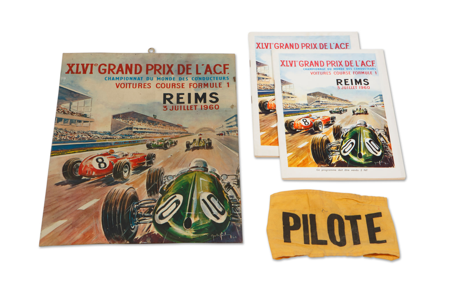 1960 French Grand Prix at Reims Official Race Programs, Driver Armband, and Metal Sign