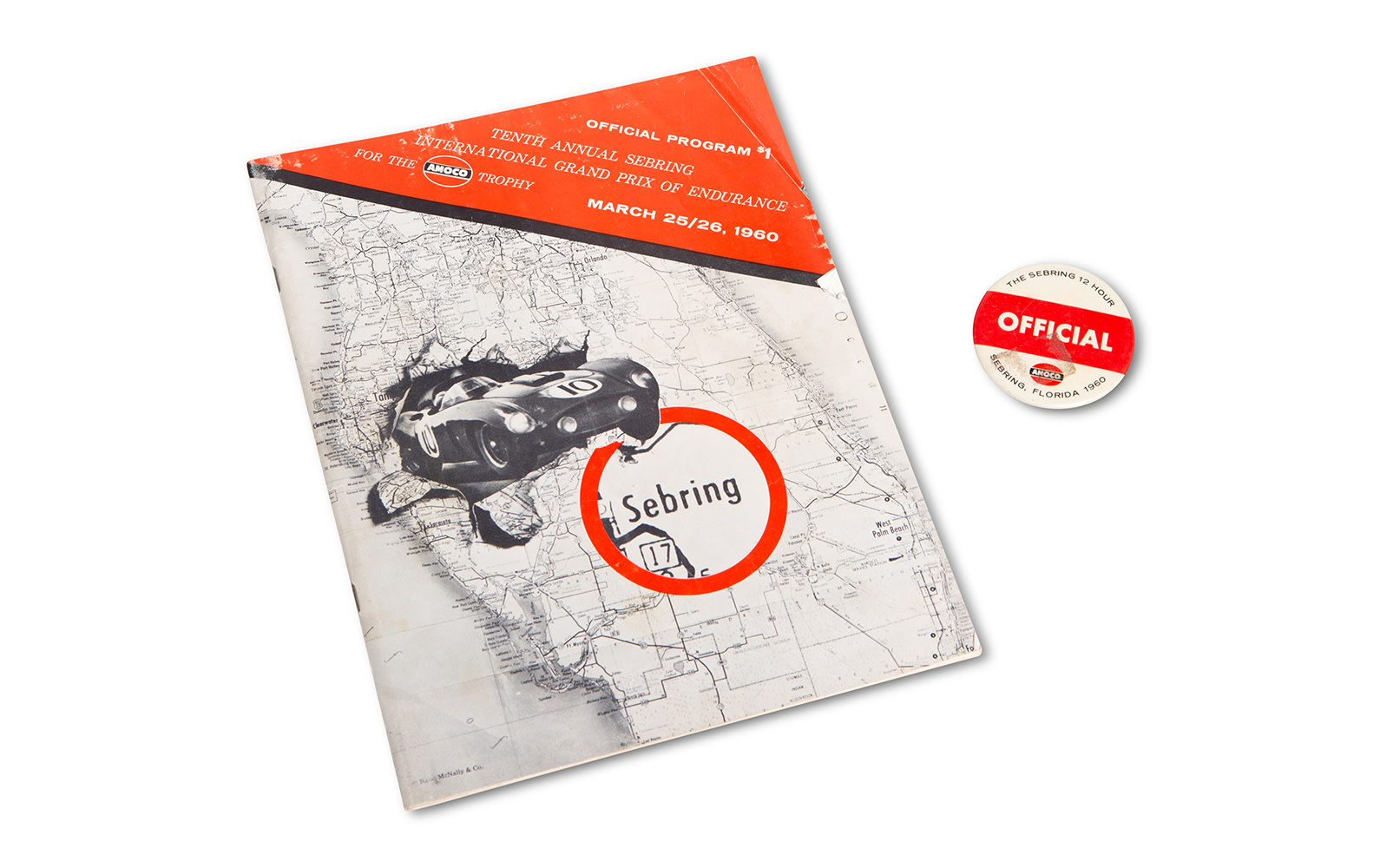 1960 12 Hours of Sebring Official Race Program and Pin
