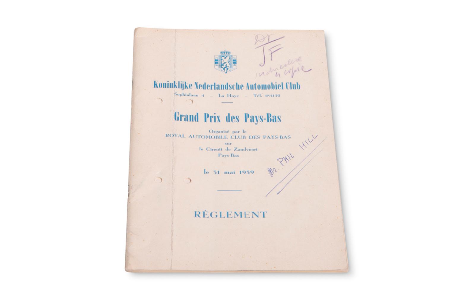 1959 Dutch Grand Prix Regulation Book