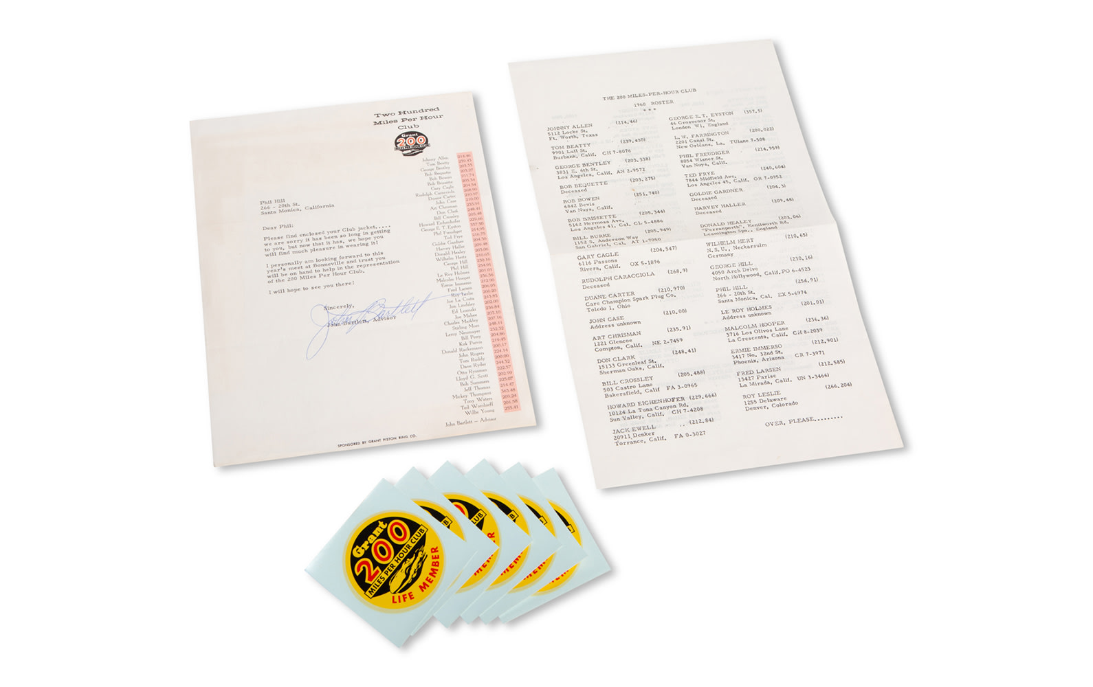 Letter Regarding the Grant 200 Miles Per Hour Club with Roster and Stickers
