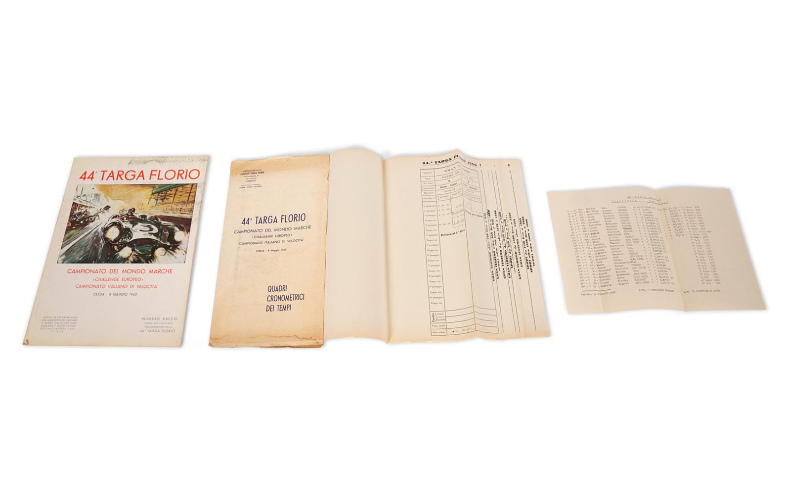 1960 Targa Florio Official Race Program and Timing Chart