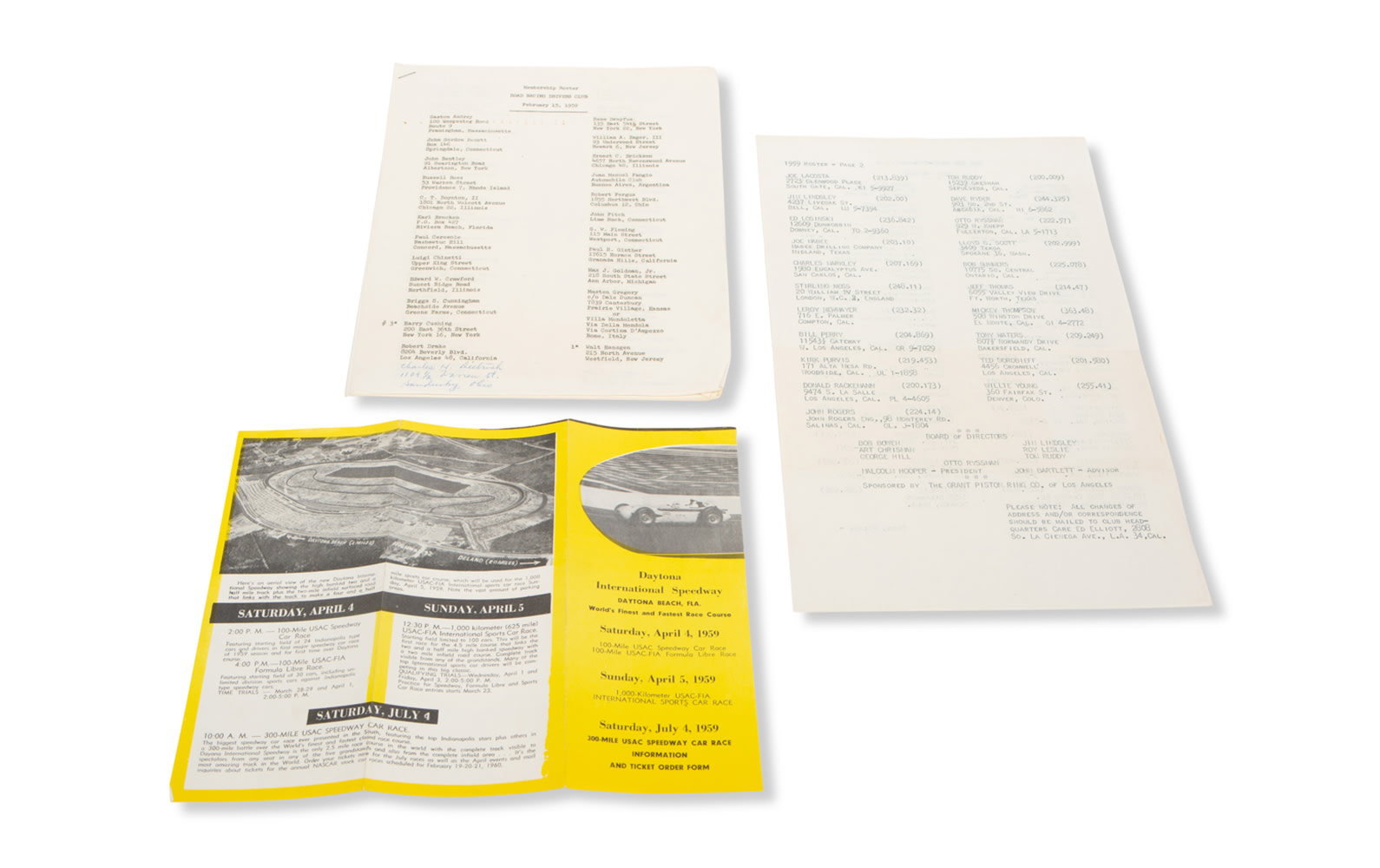 1959 Road Racing Driver's Club Membership Roster, 200 Miles-Per-Hour Club Roster, and Daytona International Speedway Brochure